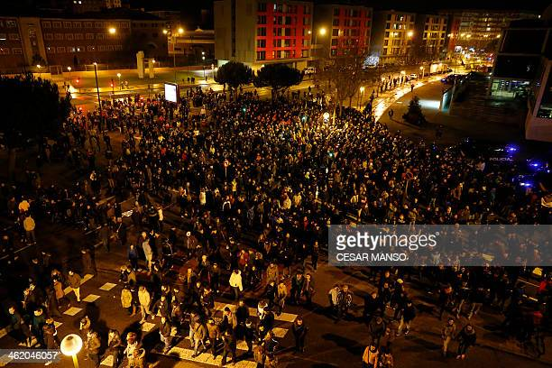 Demonstratprs gather to protest against imminent construction works to revamp Vitoria street the city's main thoroughfare in Burgos on January 12...