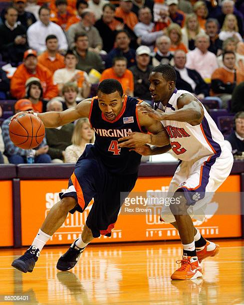 Demontez Stitt of the Clemson Tigers defends as Calvin Baker of the Virginia Cavaliers works to drive inside at Littlejohn Coliseum on March 3, 2009...