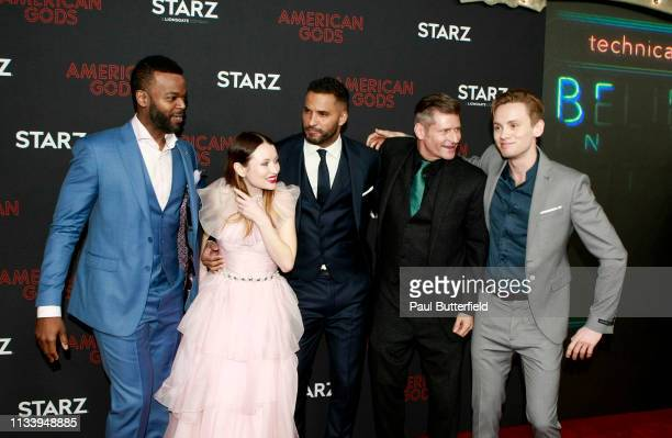 """Demore Barnes, Emily Browning, Ricky Whittle, Crispin Glover, and Bruce Langley attend the premiere of STARZ's """"American Gods"""" season 2 at Ace Hotel..."""