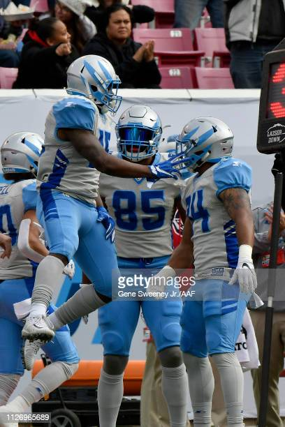 De'Mornay PiersonEl of Salt Lake Stallions celebrates after scoring against the Arizona Hotshots during their Alliance of American Football game at...