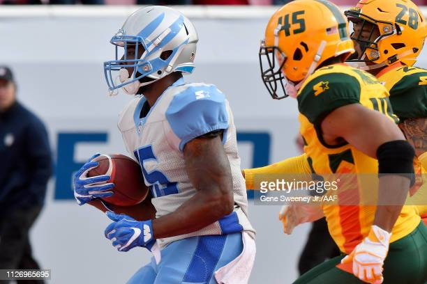 De'Mornay Pierson-El of Salt Lake Stallions scores against the Arizona Hotshots during their Alliance of American Football game at Rice Eccles...