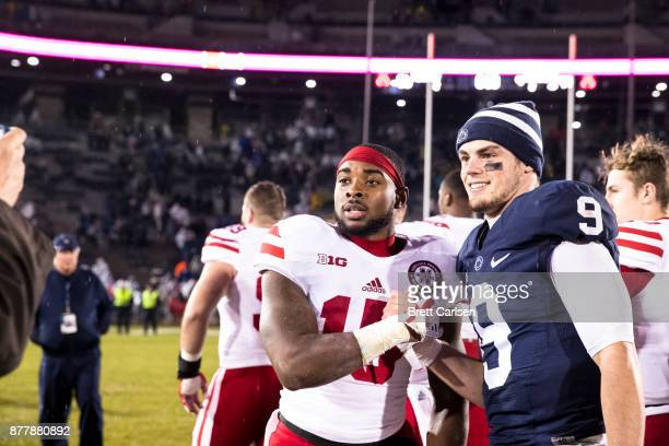 De'Mornay PiersonEl of the Nebraska Cornhuskers poses for a photo with Trace McSorley of the Penn State Nittany Lions after the game on November 18...