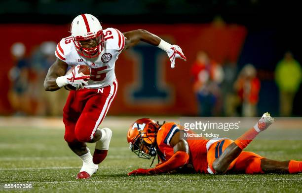 De'Mornay PiersonEl of the Nebraska Cornhuskers runs the ball during the game against the Illinois Fighting Illini at Memorial Stadium on September...