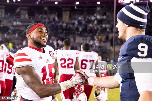 De'Mornay PiersonEl of the Nebraska Cornhuskers shakes hands with Trace McSorley of the Penn State Nittany Lions after the game on November 18 2017...