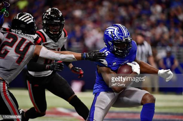 De'Mornay PiersonEl of the St Louis Battlehawks carries the ball as Ranthony Texada II of the NY Guardians defends during the first half of an XFL...