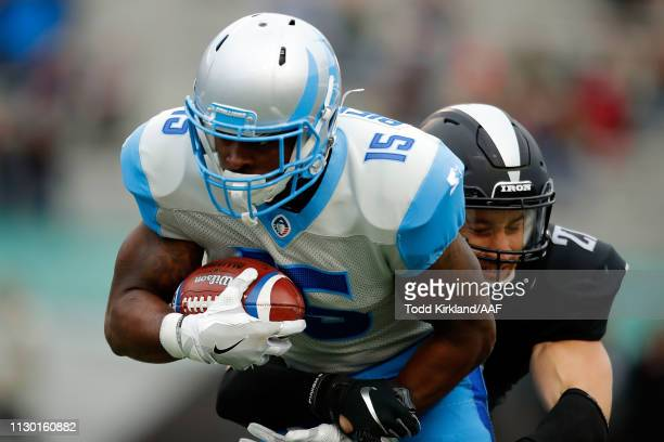 De'Mornay PiersonEl of Salt Lake Stallions is brought down by Jacob Hagen of Birmingham Iron during an Alliance of American Football game at Legion...