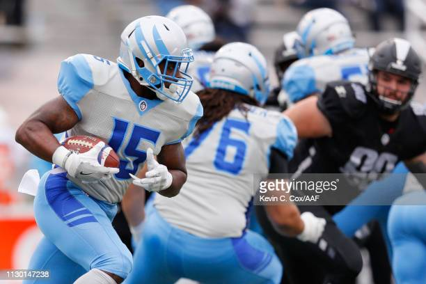De'Mornay PiersonEl of Salt Lake Stallions runs for yards during an Alliance of American Football game against the Birmingham Iron at Legion Field on...