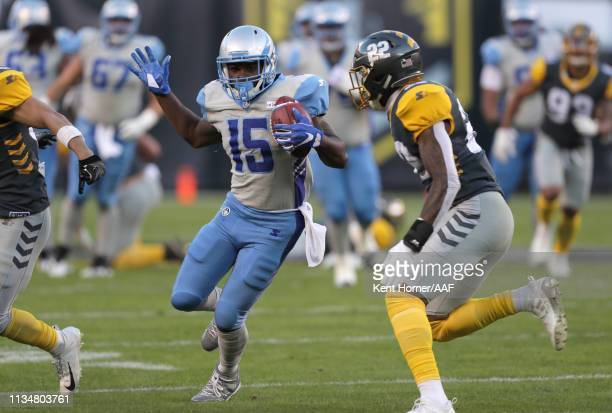 De'Mornay PiersonEl of the Salt Lake Stallions runs with the ball during the first half of the Alliance of American Football game against the San...