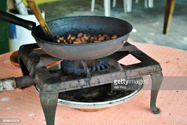 Demostration of toasting cocoa beans Guayas Ecuador