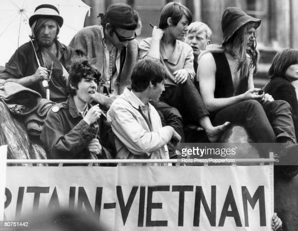 Demostrations War and Conflict London 22nd July 1968 Young people at the mass rally in Trafalgar Square which proclaimed solidarity with the people...