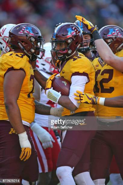 Demry Croft of the Minnesota Golden Gophers celebrates a touchdown in the fourth quarter against the Minnesota Golden Gophers at TCF Bank Stadium on...