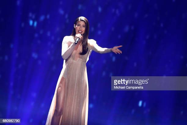 Demy representing Greece performs the song 'This Is Love' during the first semi final of the 62nd Eurovision Song Contest at International Exhibition...