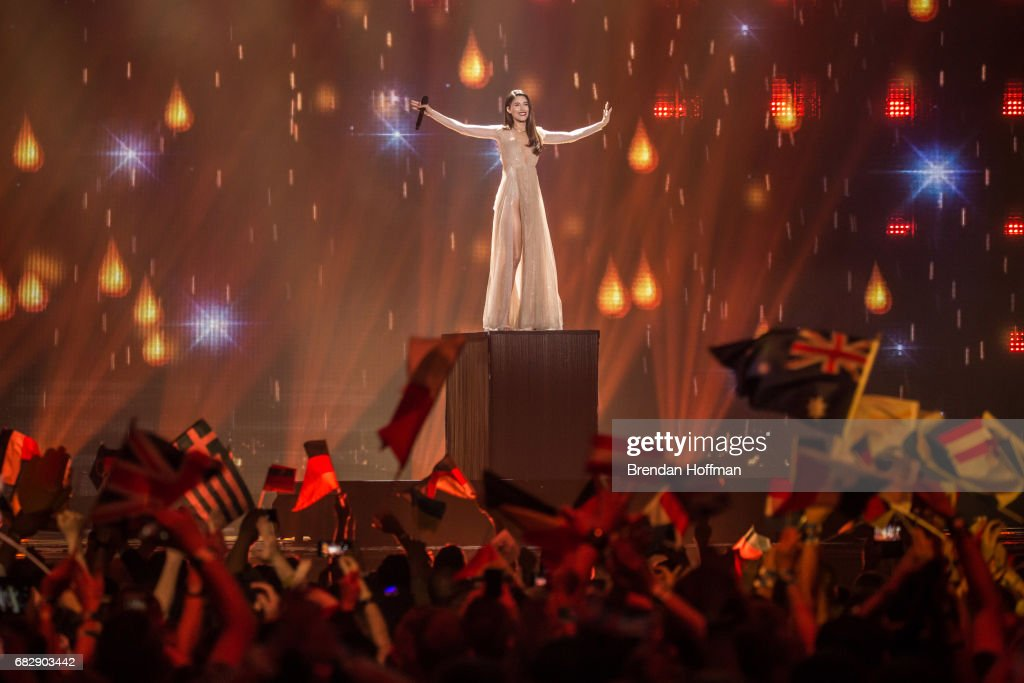 Demy, the contestant from Greece, performs at the Eurovision Grand Final on May 13, 2017 in Kiev, Ukraine. Ukraine is the 62nd host of the annual iteration of the international song contest. It is the longest running international TV song competition, held primarily among countries from Europe. Each participating country will perform an original song, votes cast by the other countries determine the winner. This year's winner Salvador Sobral from Portugal won with his love ballad 'Amar Pelos Dois'.