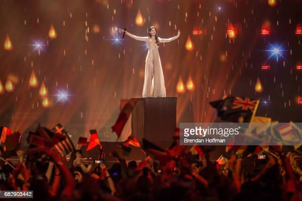 Demy the contestant from Greece performs at the Eurovision Grand Final on May 13 2017 in Kiev Ukraine Ukraine is the 62nd host of the annual...