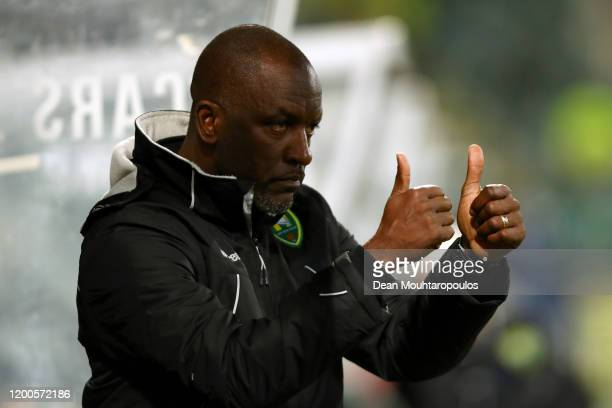 Den Haag assistant manager / assistant coach, Chris Powell gives his players instructions from the sidelines or bench during the Eredivisie match...