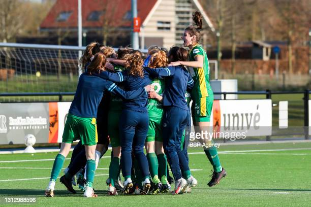 Den Haag celebrate the final place during the KNVB beker match between FC Twente and ADO Den Haag at Sportcampus Diekman on April 17, 2021 in...