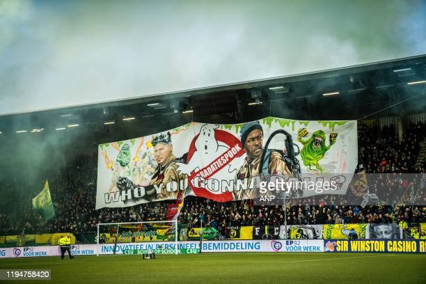 Den Haag coach Alan Pardew, ADO Den Haag assistant trainer Chris Powell, banner, fans, supporters, flag, ghost busters, who you gonna call?...