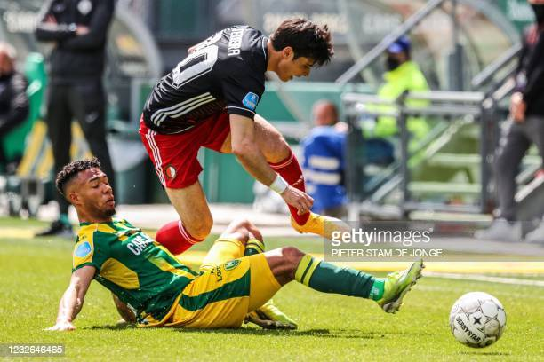 Den Haag Dutch defender Milan van Ewijk fights for the ball against Feyenoord Portuguese defender Joao Teixeira during the Dutch Eredivisie match...