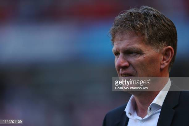 Den Haag Manager / Head coach Alfons Groenendijk looks on prior to the Eredivisie match between PSV and ADO Den Haag at Philips Stadion on April 21...