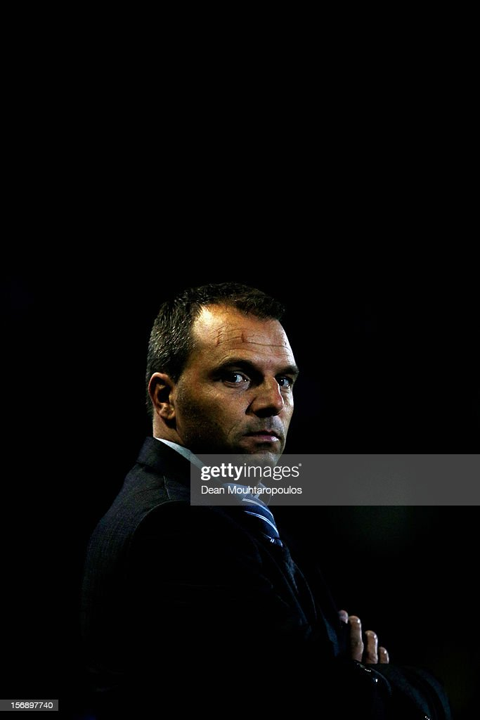 Den Haag Manager, Maurice Steijn looks on prior to the Eredivisie match between NAC Breda and ADO Den Haag at the Rat Verlegh Stadium on November 23, 2012 in Breda, Netherlands.