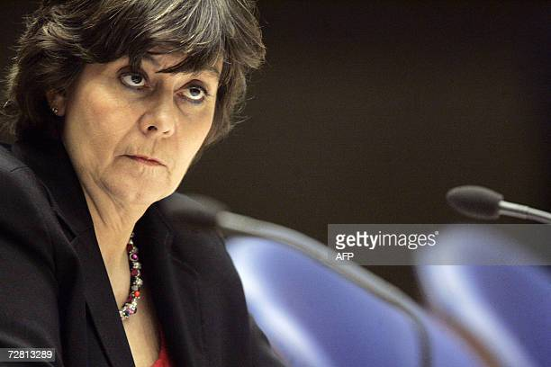 Dutch immigration minister Rita Verdonk during a debate in the parliament in The Hague 12 December 2006 about a suspention of the expulsion of...