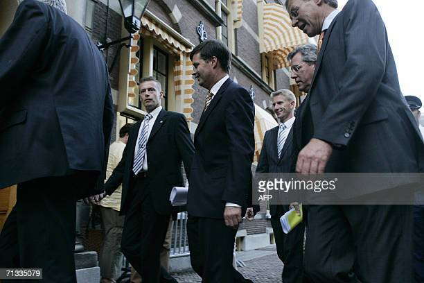 Den Haag, NETHERLANDS: Dutch Prime Minister Jan Peter Balkenende is seen after he announced the resignation of the government 29 June 2006 in The...