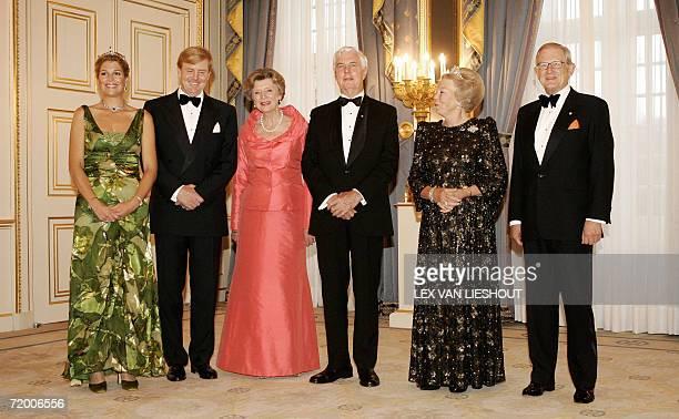 Den Haag, NETHERLANDS: Dutch Princess Maxima, Dutch crown-prince Willem-Alexander, Michael Jeffery, the Governor-General of Australia, Marlena...