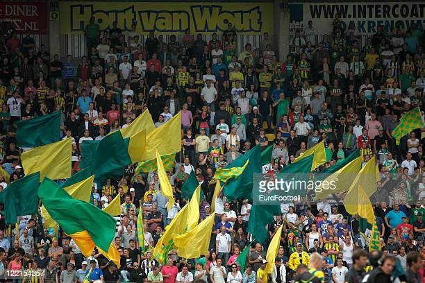 Den Haag supporters at the Kyocera Stadion home of ADO Den Haag taken prior to the Dutch Eredivisie match between ADO Den Haag and PSV Eindhoven held...