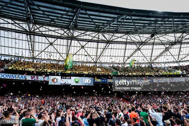Den Haag supporters throw cuddly toys at Feyenoord fans to support Sophia Kinderziekenhuis during the Dutch Eredivisie match between Feyenoord v ADO...