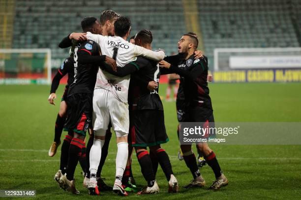 Den Haag wins penalty shootout during the Dutch KNVB Beker match between ADO Den Haag v Sparta at the Cars Jeans Stadium on October 28, 2020 in Den...