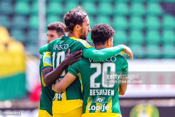 Den Haag's Colombian forward Vicente Besuijen and teammate celebrate the 2-1 during the Dutch Eredivisie match between ADO Den Haag and Feyenoord at...