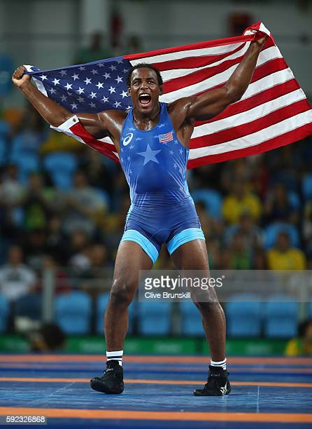 J'den Michael Tbory Cox of the United States celebrates victory over Reineris Salas Perez of Cuba in the Men's Freestyle 86kg Bronze Medal bout on...