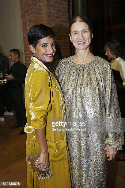 Dena Aljuhani Abdulaziz and Karla Otto attend the private Dinner hosted by Surface Magazine And Azzedine Alaia Private Dinner as part of Paris...
