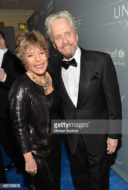 Dena Kaye and United Nations Messenger of Peace Michael Douglas recipient of the Danny Kaye Humanitarian Peace Award attends the 2014 UNICEF Ball...
