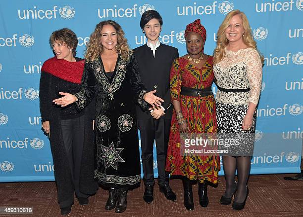 Dena Kaye Daniela Mercury Kristian Kristov Angelique Kidjo and Menchi Barriocanal attend the UNICEF launch of the #IMAGINE Project to celebrate the...