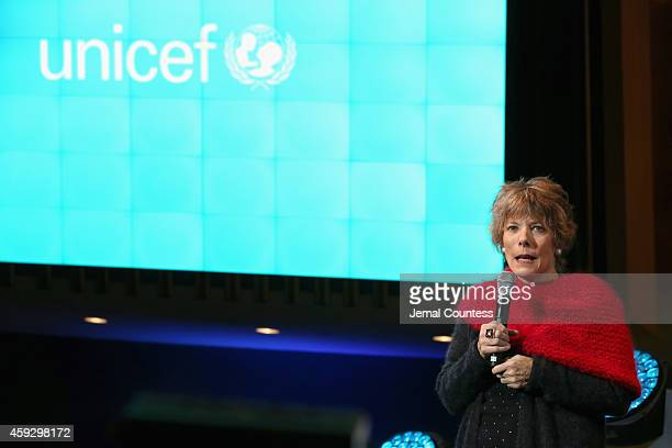 Dena Kaye speaks on stage at the UNICEF launch of the #IMAGINE Project to celebrate the 25th Anniversary of the rights of a child at United Nations...