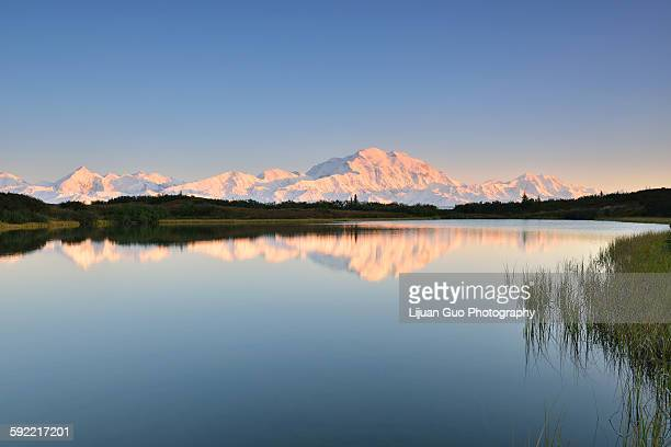 denali mountain and reflection pond, alaska - mt mckinley stock photos and pictures