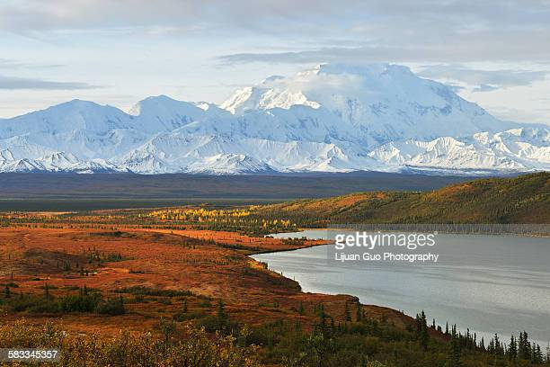 denali mountain and wonder lake at sunrise - mt mckinley stock photos and pictures
