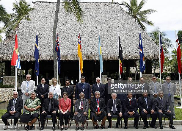 Cook Islands PM Jim Marurai Samoan PM and FM Tuilaepa Sailele Malielegaoi Tongan PM Fred Sevele New Zealand PM Helen Clark Papuan New Guinean PM Sir...