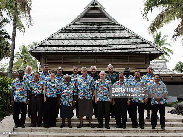 Solomon Islands Prime Minister Manasseh Sogavare Vanuatu PM Ham Lini Vanuaroroa Niue Premier Young Vivian New Zealand PM Helen Clark Papuan New...