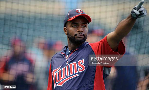 Denard Span of the Minnesota Twins looks on during batting practice before the game against the Cleveland Indians on July 27 2012 at Target Field in...