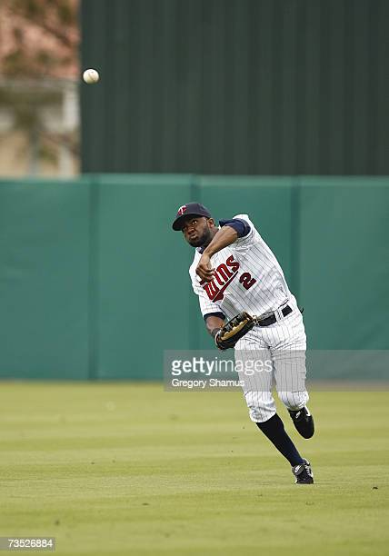 Denard Span of the Minnesota Twins throws the ball to make a play during a Spring Training game against the Boston Red Sox on March 4, 2007 at...