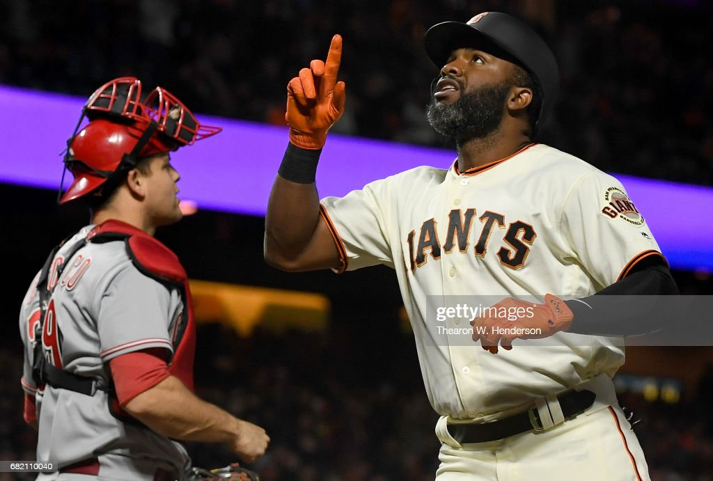 Denard Span #2 of the San Francisco Giants celebrates after he hit a solo home run against the Cincinnati Reds in the bottom of the fifth inning at AT&T Park on May 11, 2017 in San Francisco, California.