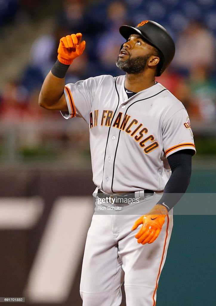 Denard Span #2 of the San Francisco Giants gestures after hitting a double in the eighth inning against the Philadelphia Phillies during a game at Citizens Bank Park on June 2, 2017 in Philadelphia, Pennsylvania. The Giants defeated the Phillies 10-0.