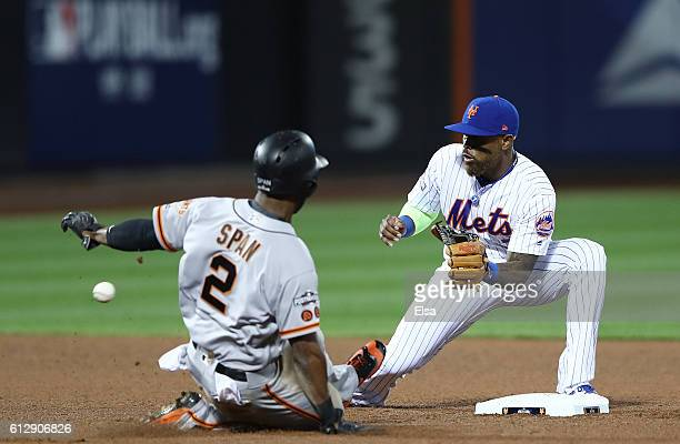 Denard Span of the San Francisco Giants steals second against Jose Reyes of the New York Mets in the fifth inning during their National League Wild...