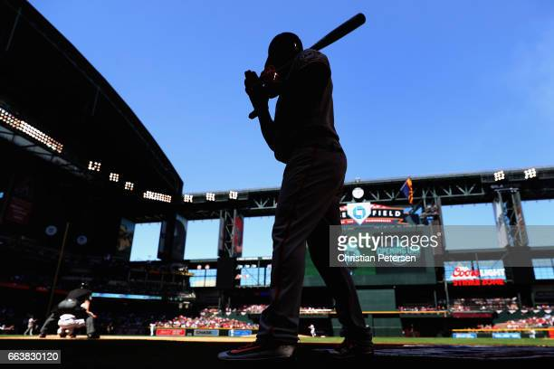 Denard Span of the San Francisco Giants warms up before batting against the Arizona Diamondbacks during the first inning of the MLB opening day game...