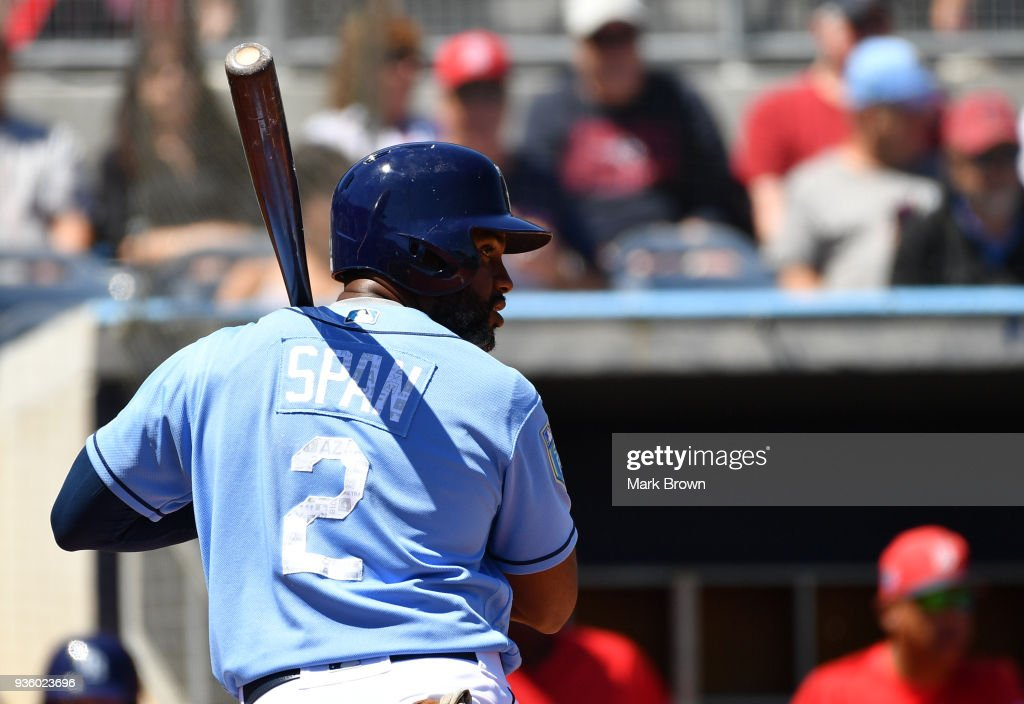Denard Span #2 of the Tampa Bay Rays attempts to bat in the third inning during the spring training game between the Tampa Bay Rays and the Boston Red Sox at Charlotte Sports Park on March 21, 2018 in Port Charlotte, Florida.