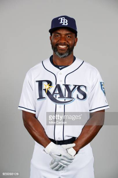 Denard Span of the Tampa Bay Rays poses during Photo Day on Sunday February 18 2018 at Charlotte Sports Park in Port Charlotte Florida