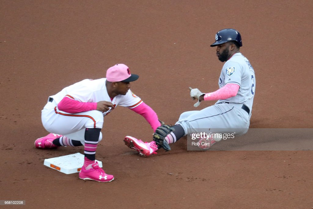 Denard Span #2 of the Tampa Bay Rays steals second base as Jonathan Schoop #6 of the Baltimore Orioles waits for the throw in the first inning at Oriole Park at Camden Yards on May 13, 2018 in Baltimore, Maryland.