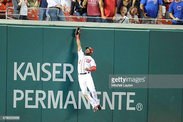 Denard Span of the Washington Nationals catches a fly ball hit by Anthony Rizzo of the Chicago Cubs in the eighth inning during a baseball game at...